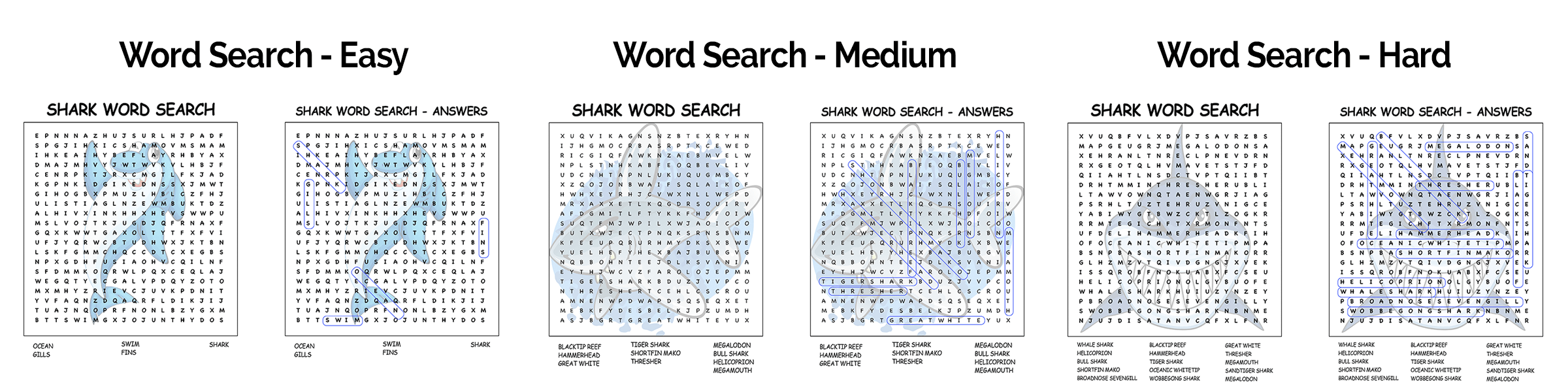 Super Shark Pack Word Searches